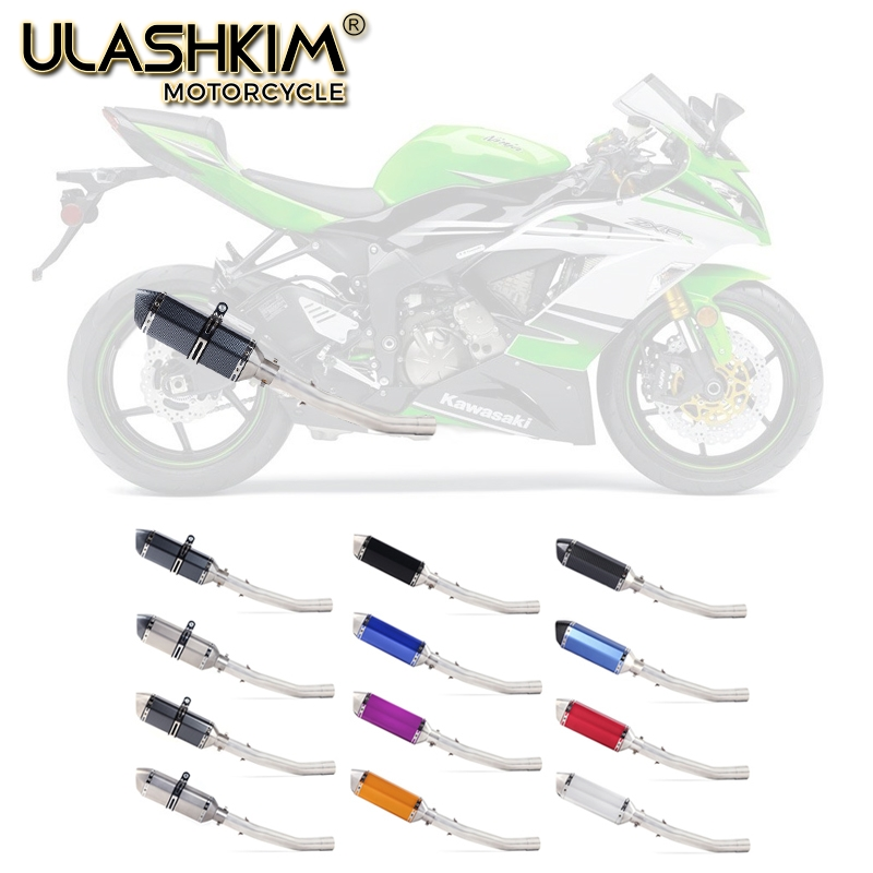 Motorcycle Exhaust Escape Muffler Middle Contact Pipe Full System Slip on For KAWASAKI ZX 10R ZX10R ZX 10R 2008 2009 2010 in Exhaust Exhaust Systems from Automobiles Motorcycles