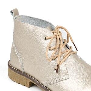 Image 4 - WeiDeng en cuir véritable bottines femmes classique Matin mode chaussures plates hiver à lacets haut décontracté chaussures imperméables femme