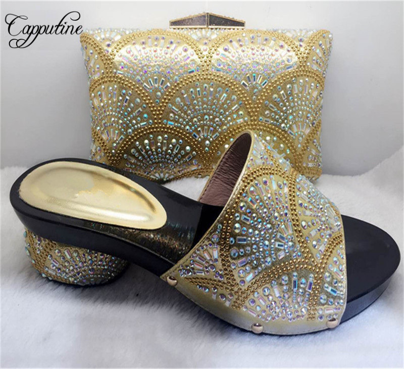 Capputine Hot Sale Nigeria Style Ladies Shoes And Bag Set High Quality Africa Elegant High Heels Shoes And Bag Set Fot Party  africa style pumps shoes and matching bags set fashion summer style ladies high heels slipper and bag set for party ths17 1402