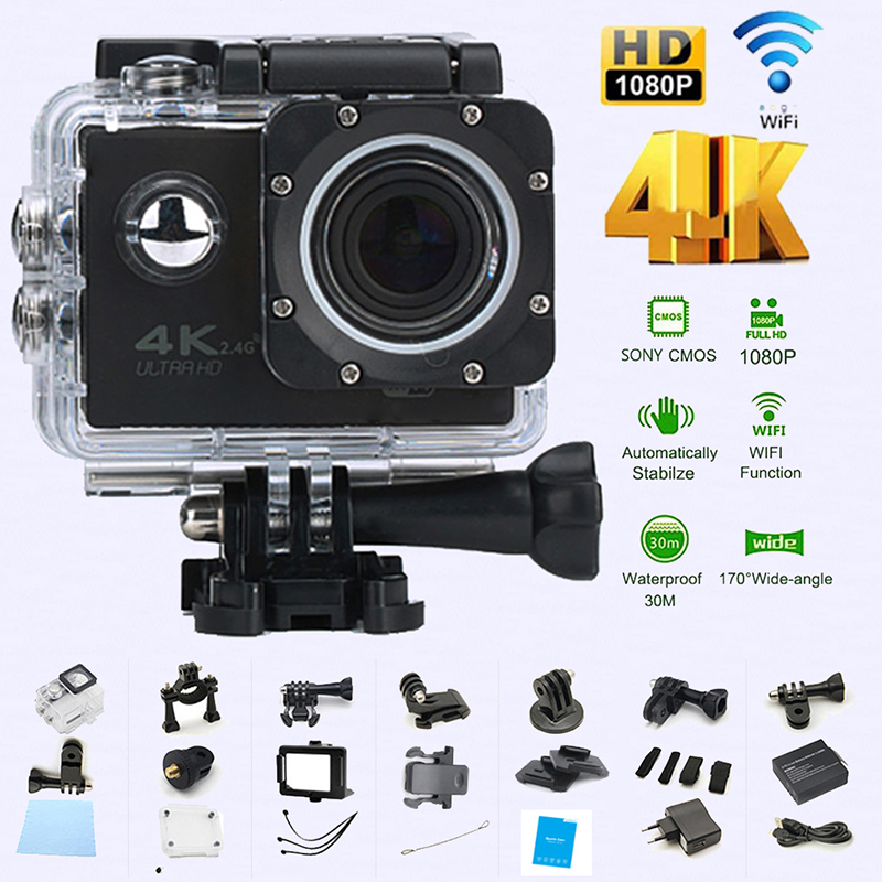 Caméra d'action étanche WIFI vélo 4 K caméra Ultra plongée 60PFS kamera casque vélo caméra sport sous-marin 1080 P caméra