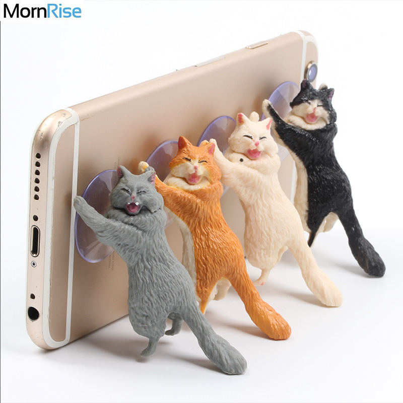 New Lovely Phone Support Sucker Resin Cute Cat Design Mobile Phone Holder Stand Puppet Desk Socket Smart Phone Mat For IPhone