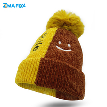 ZMAFOX winter thermal beanie knitted hat children toddlers lovely color blocking beanies baby girl cap pompom smile kids hats