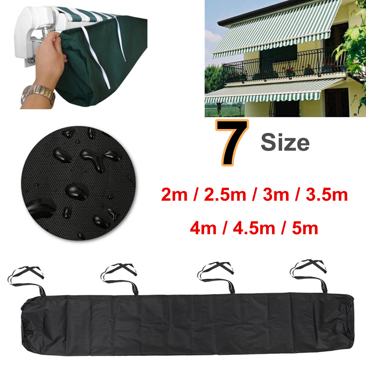 2/2.5/3/3.5/4/4.5/5m Oxford Patio Awning Winter Storage Bag Yard Garden Shelter Rain Weather Cover Protector Sun Canopy Cloth