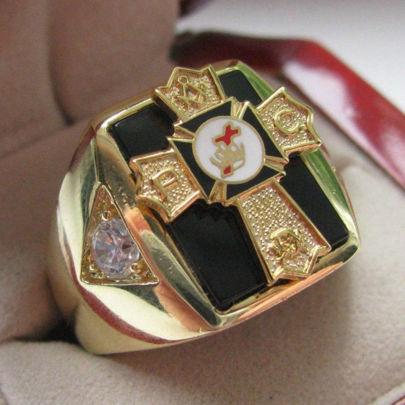 Hot Selling Natural Onyx 18kt Gold Filled NEW Mens Knights TEMPLAR Past Commander Crest Ring * crest 200g
