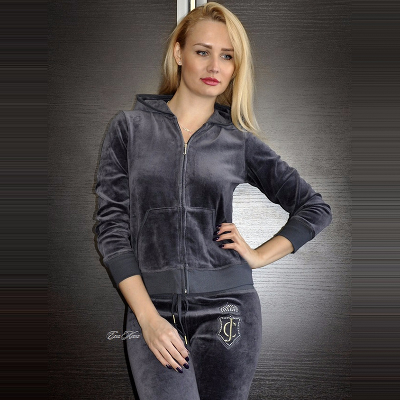 Women s Brand Velvet Fabric Tracksuits Velour Suit Female Track Suit Hoodies Tops and Pants Size