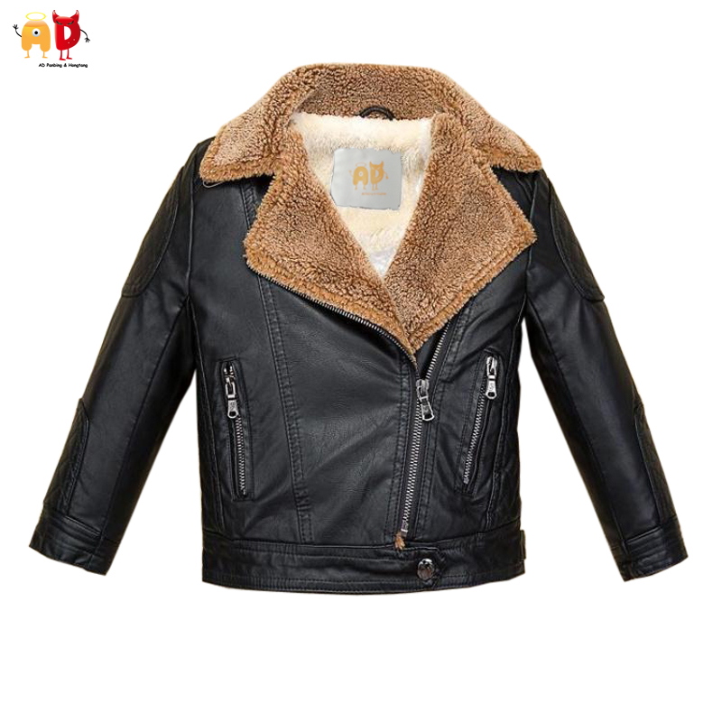 AD Brown Fleece Collar Boys Leather Jacket for Winter Quality Soft ...