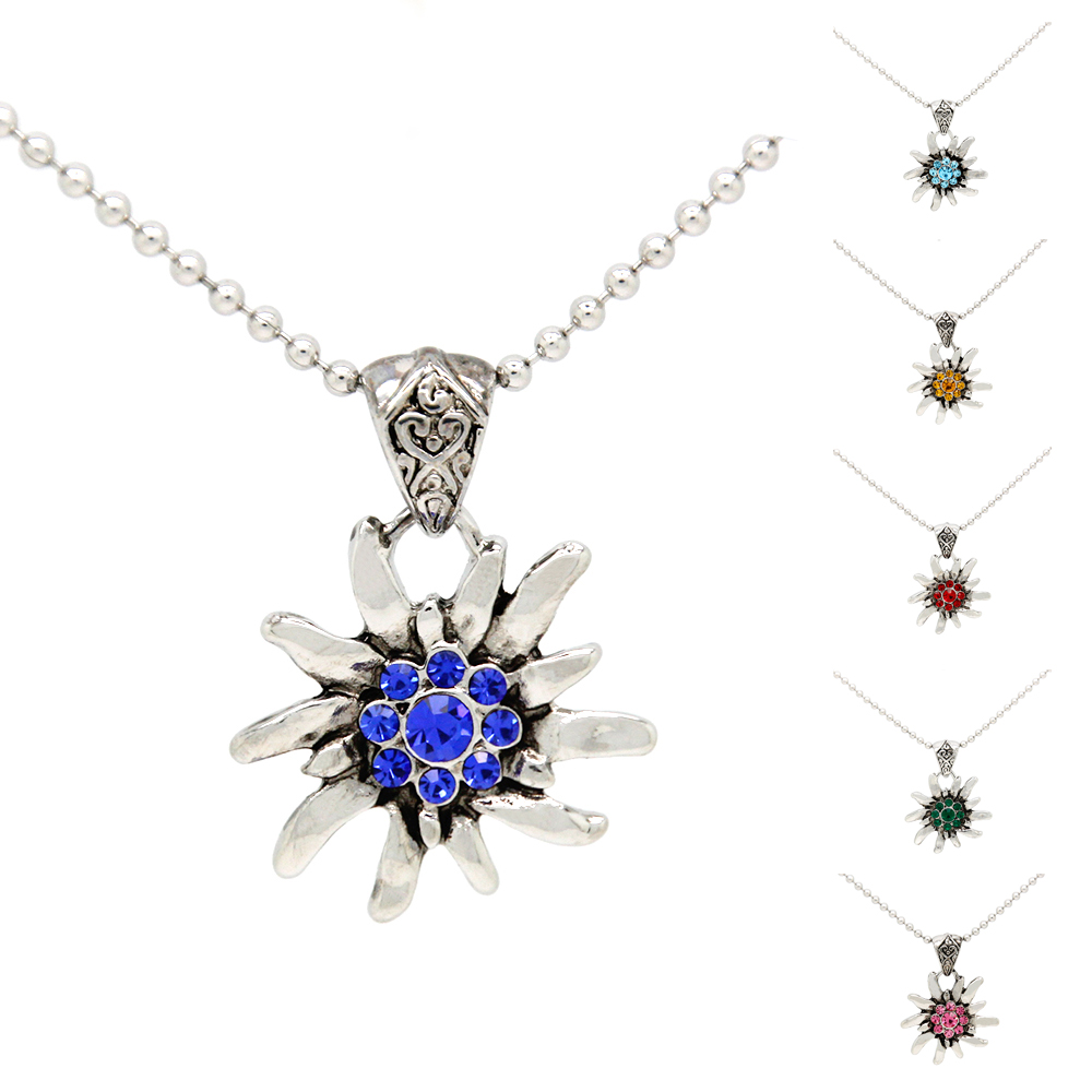 6 Colors New German Bavarian Trachten Edelweiss Statement Necklace for OKTOBERFEST  Trendy Jewelry