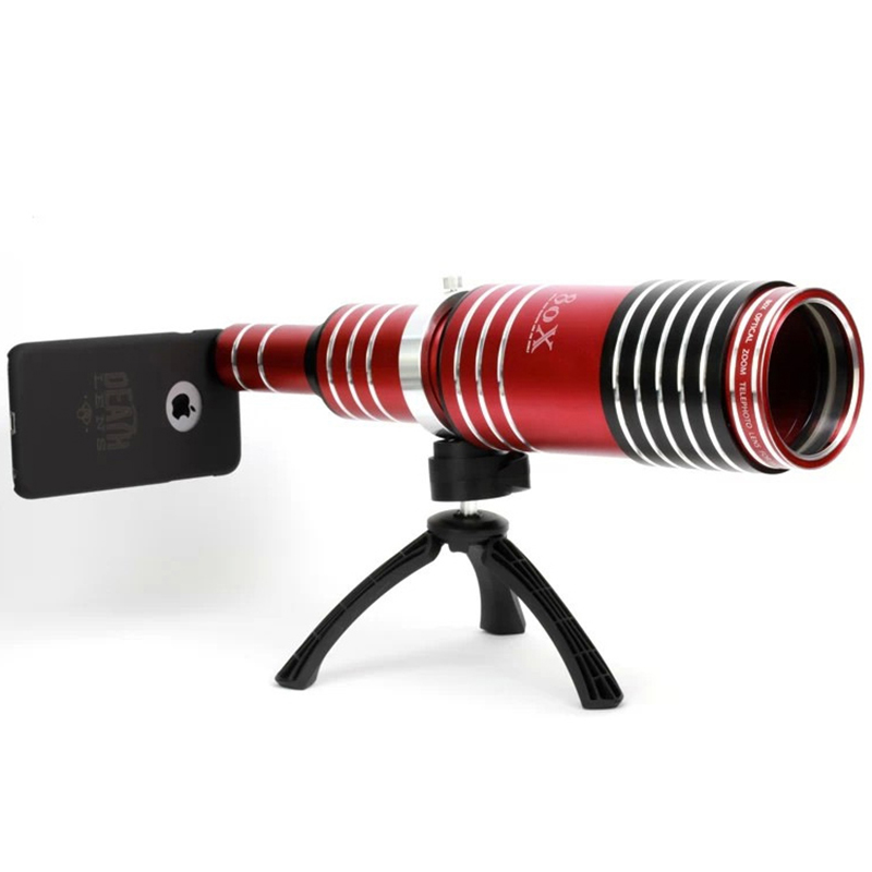 1 Pcs 80X Super Zoom Telescope Lens HD Tripod Telephoto Optical Mobile Phone Camera for iPhone 6 6S Plus Aluminum Professional