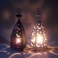 Metal Hollow Candlestick Candle Lantern Tea Lamp Holder Moroccan Candlestick Hanging Lamp Wedding Decoration