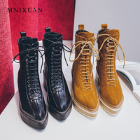 MNIXUAN high quality shoes martin boots women 2018 winter new pointed toe platform high heels lace up zipper ankle boots size43