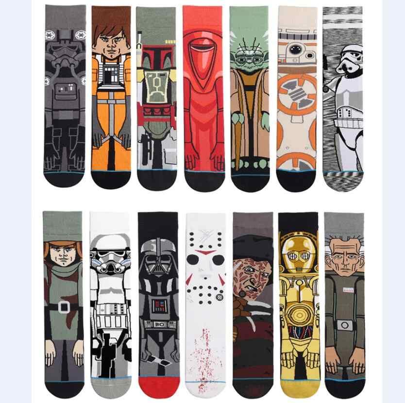 Star wars meias para adultos mulheres jedi vader mestre yoda cosplay brinquedos de algodão engraçado maré longa star wars meias
