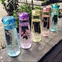 Botella de agua mi verano de 620ml botella de agua de diamante botella de agua de plástico creativo deporte beber garrafas shaker copo com canudo