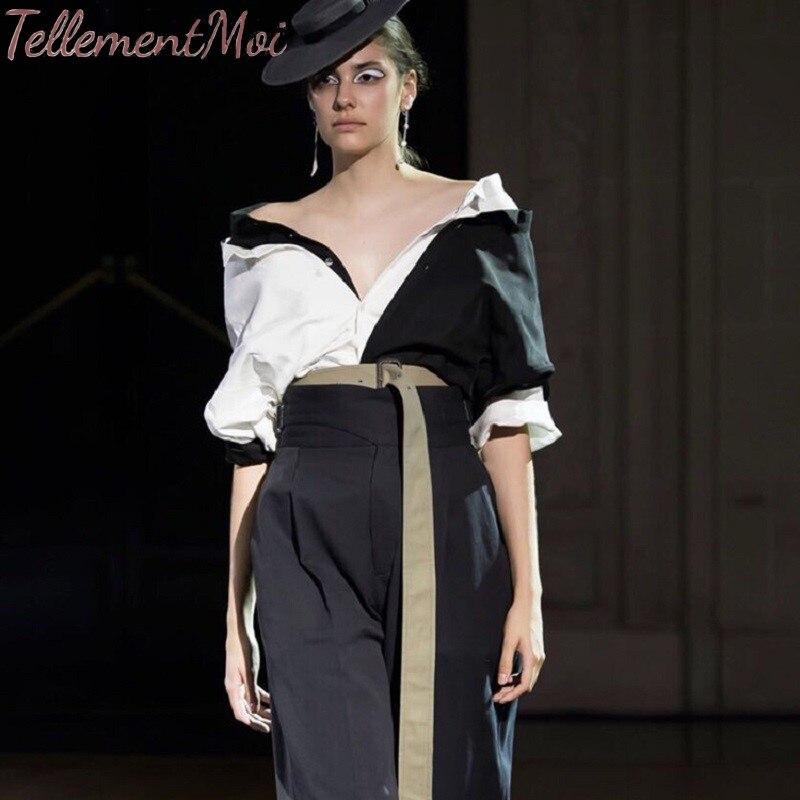 Blouses pour femmes Patchwork noir blanc contraste couleur chemise femme col en V manches courtes hauts printemps été 2019 mode nouvelle marée
