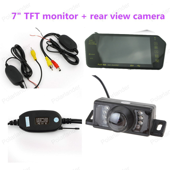 "LCD +7 LED Night vision rear view camera  monitor wireless transmitter receiver kit    7"" TFT BLUETOOTH monitor"