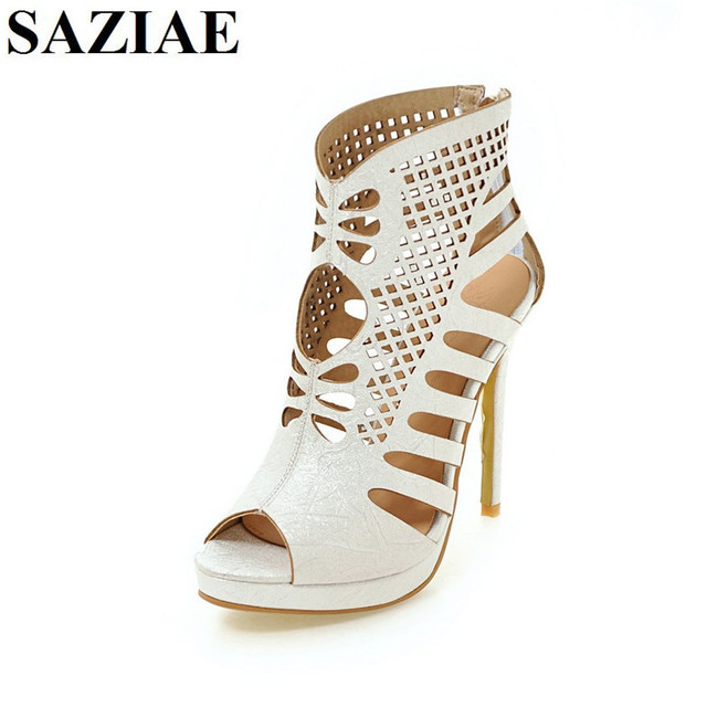 [SAZIAE] Super Fashion Women Sandals 2017 Popular Cut Outs Open Toe Thin Heels Sandals Sexy Black Shoes Woman Plus US Size 4-12