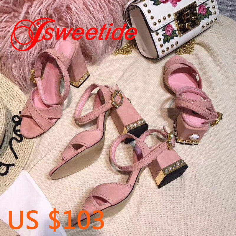 Hot sale summer women s Brand sandals Rhinestone with heels shoes woman Open Toe female thick