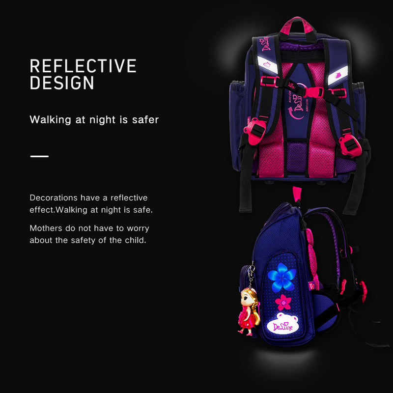Delune Kids 3D Cartoon Car Flower Owl Backpack Orthopedic Primary School Bag
