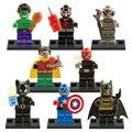 8 шт./лот X0120 Super Hero Красный Череп Капитан Америка Мстители Бэтмен Бэйн Ultron Строительных Блоков legoe Игрушки Для Детей Рождество