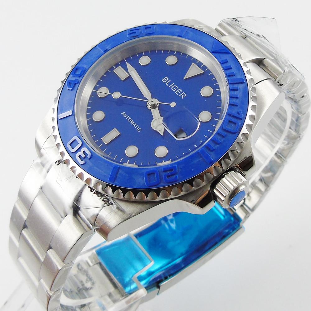 Bliger 40mm blue dial date blue Ceramics Bezel saphire glass Automatic movement Men's watch цена и фото