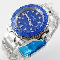 Bliger 40mm blue dial datum blauw Keramiek Bezel saphire glas Automatisch uurwerk horloge