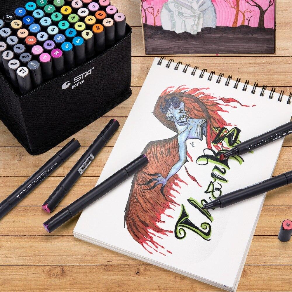 STA3203 60 marqueurs de croquis de couleur Set-marqueur d'art de croquis professionnel pour artiste peinture à la main double tête marqueurs d'alcool fournitures