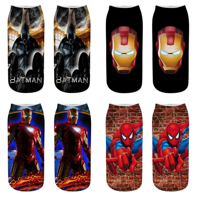 Howfits Short Invisible Cartoon Boat No Show Women Men Socks 3D Kawaii Superman Batman Spiderman Captain America Ironman Cute