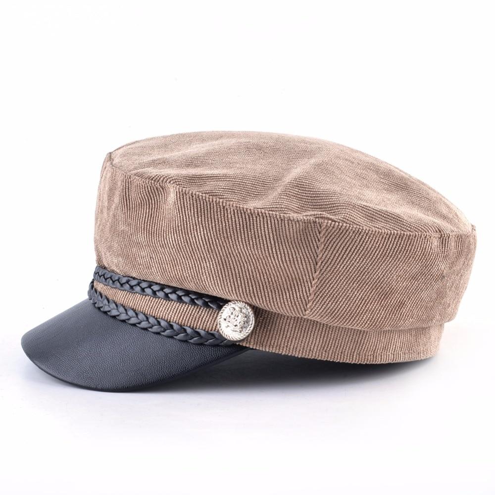 bf0e3f7224a Women Corduroy Military Cap Spring Autu Newsboy Cap Lady Twist Braiding But  Flat Beret Hat Fashion PU Visor Octagonal Boina