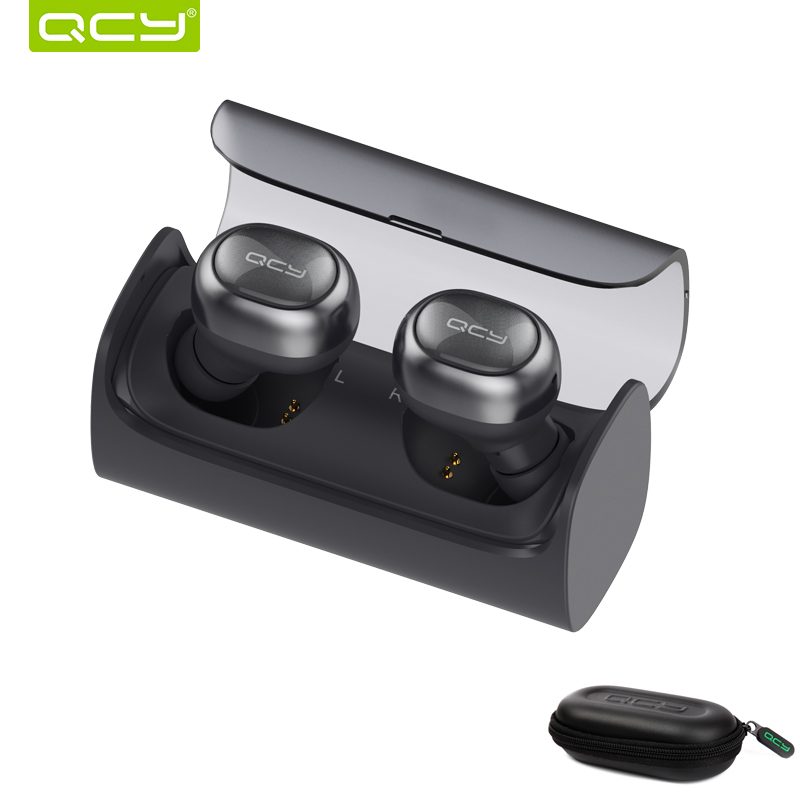 QCY Q29 Wireless bluetooth earphones stereo earphones auto connected earbuds with mic and portable storage box цена 2017