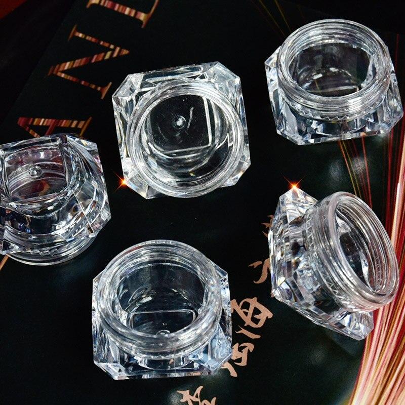 Купить с кэшбэком 10pcs 5g (5ml, 0.17oz) Clear Diamond Empty Acrylic Container Makeup Bottle for Cosmetic Cream Jewelry Empty Jar Pot Eyeshadow