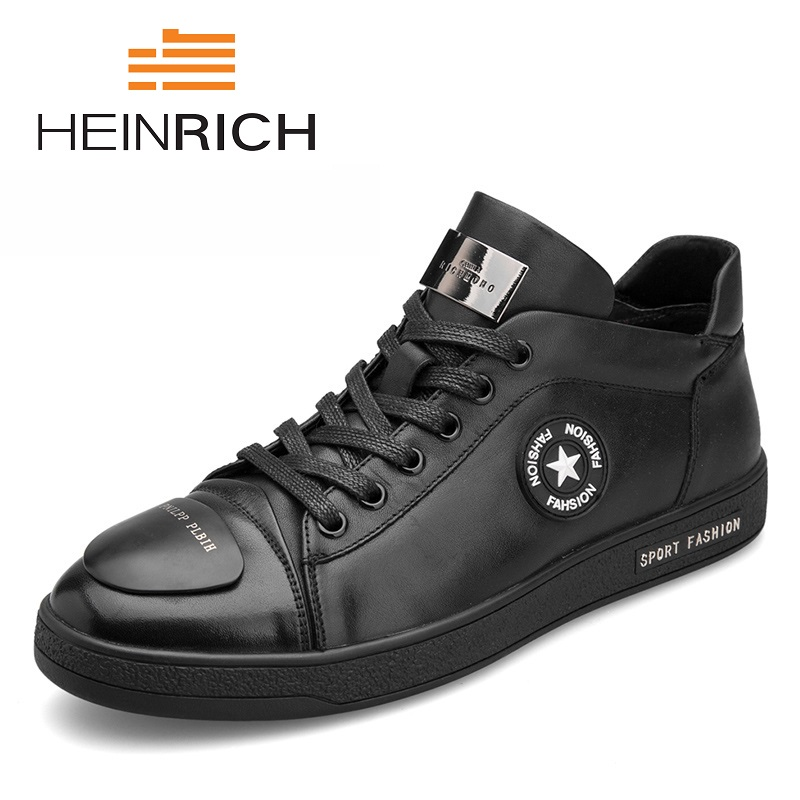 HEINRICH Sport Men Shoes Genuine Leather Casual Shoes Man Autumn And Winter Non Slip Waterproof Shoes Sapato Masculino france tigergrip waterproof work safety shoes woman and man soft sole rubber kitchen sea food shop non slip chef shoes cover