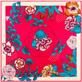100 cm * 100 cm Mulheres 2016 Nova Moda Primavera Flor Folha de Sarja de Seda Lenço Quadrado Impresso Venda Quente Femal envoltório