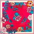 100cm*100cm Women 2016 New Fashion Twill Silk Spring Flower Leaf Printed Square Scarf Hot Sale Femal Wrap