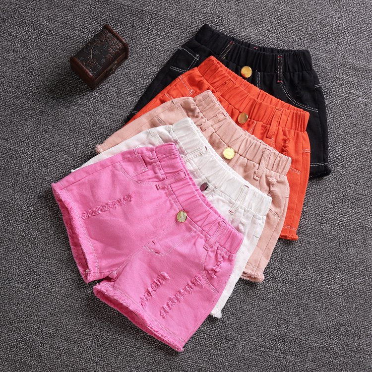 Girls denim shorts summer female baby pants Korean version of children's pants children's summer children's jeans 2018 hot FREE londinas ark store hot style summer high waist denim riveted scratched shorts jeans sexy fashion straight frazzle women pants