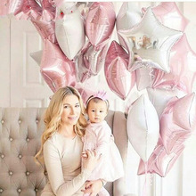 12PCS Baby Shower 18 inch Pink White Star Helium Foil Balloons Girls Happy Birthday Party Supplies 1st Decoration Air Ball