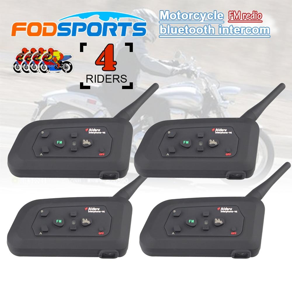 4 pcs V4 1200 m 4 cavaliers interphone duplex interphone bluetooth casque pour casque de moto avec fonction radio FM
