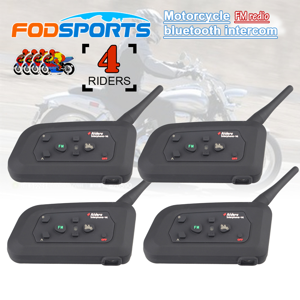 4 st V4 1200M 4-rätters interphone full duplex bluetooth intercom headset för motorcykelhjälm med FM-radio funktion