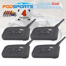 4 pièces Fodsports V4 casque de moto Interphone Bluetooth casque 4 coureurs 1200M sans fil Intercomunicador BT Interphone FM radio