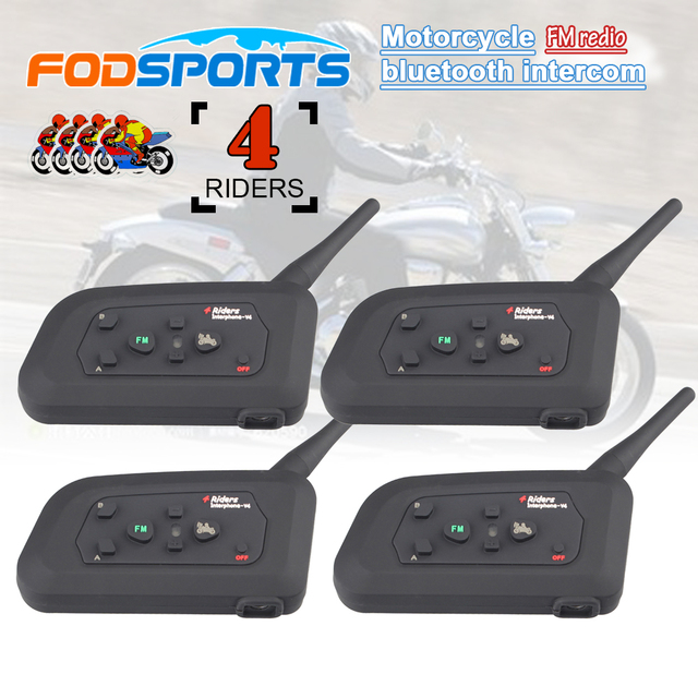 4pcs Fodsports V4 Motorcycle Helmet Intercom Bluetooth Headset 4 Riders 1200M Wireless Intercomunicador BT Interphone FM radio