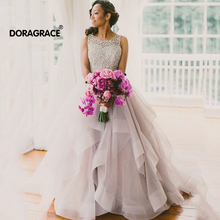 Doragrace Charming A Line Organza Ruffles Beaded Evening Party Dresses Prom Gowns Plus Size