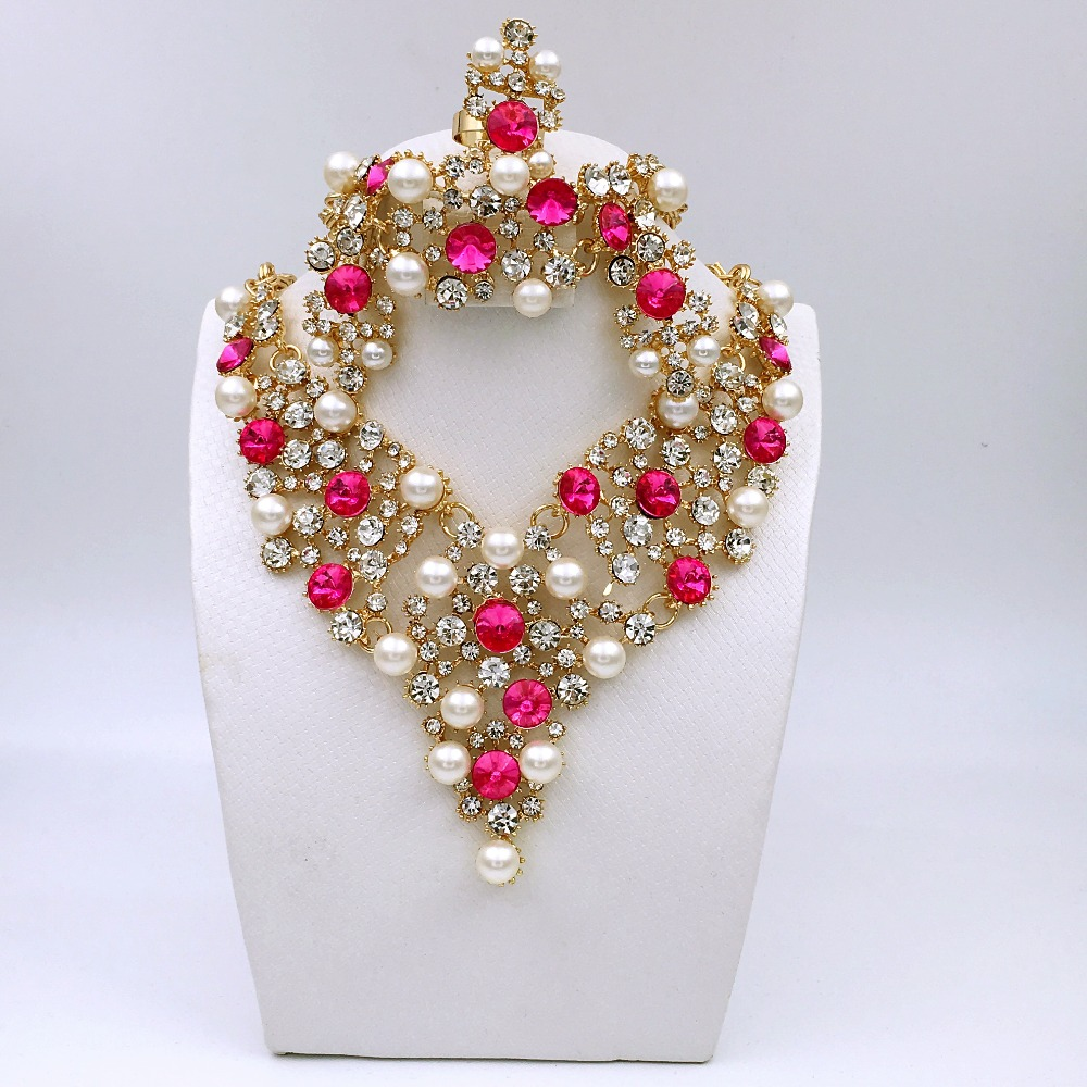 Pink Pearl White Dubai Ethiopian Dubai Nigerian Wedding African Beads  Jewelry Set Women Parure Bijoux Plaque Or