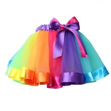 2017 Nieuwste Baby Meisje Rok Kinderen Regenboog Tutu Rokken Hot Selling Pettiskirt Tutu Custome Party Wedding Dance Rok(China)