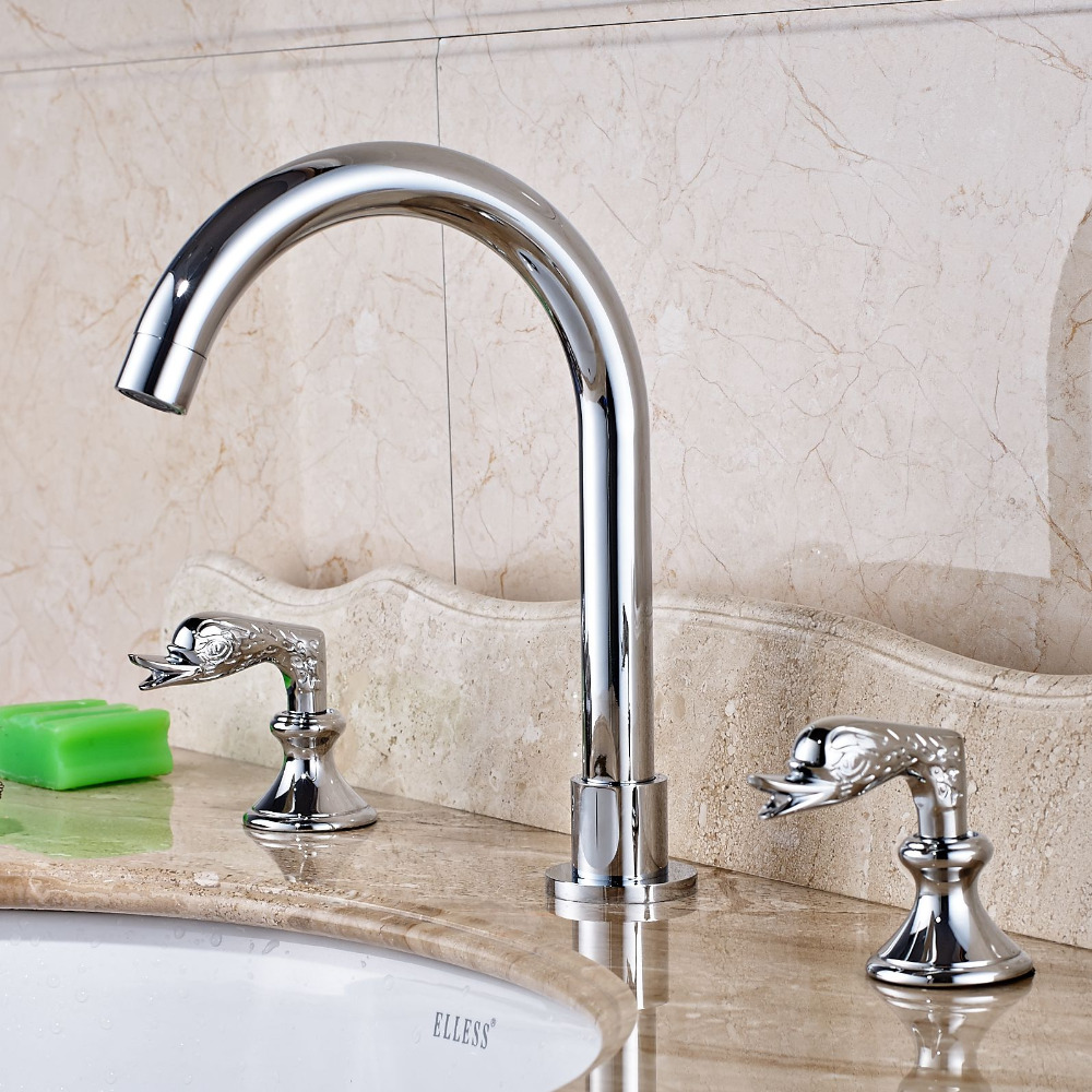 3 Holes  Bathroom Basin Faucet Dual Swan Handle Mixer Tap Chrome Brass luxury chrome brass bathroom animal swan faucet 3 holes mixer tap
