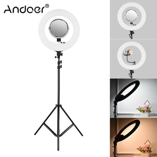 Andoer Led Ringlight Ring Light Ring With 2m Light Stand Mirror