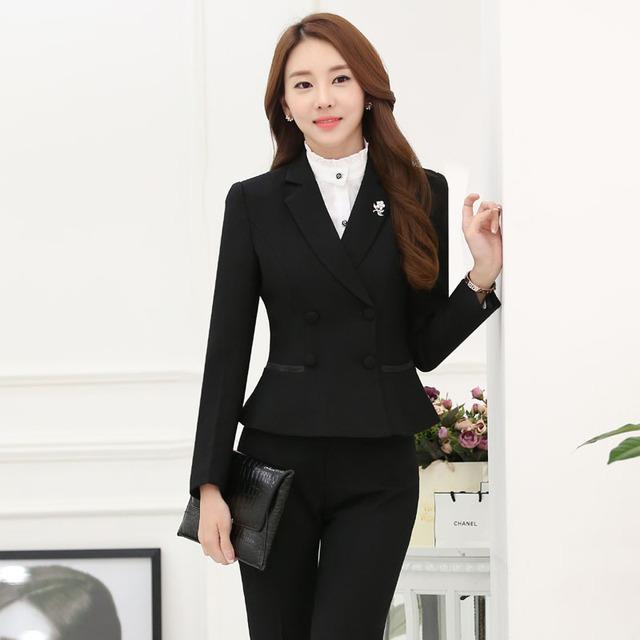 Plus Size Outono Inverno Formais Terninhos Com Jaquetas E Calças Das Senhoras Calças Set Profissional Trabalho de Escritório Blazers Ternos Calças