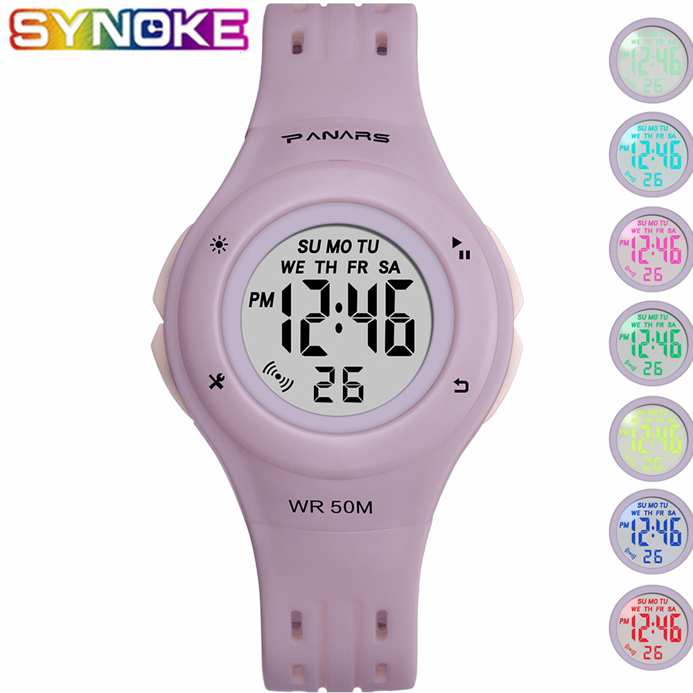 SYNOKE Children Digital Watches Sports Waterproof Multi Function Luminous Wrist Watches Colorful Alarm Clock Stop Watch For Kids