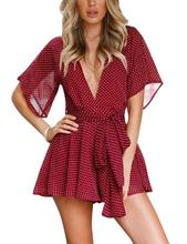 Yfashion Solid Sexy Deep V Neck Polka Dot Short Sleeve Romper for Women