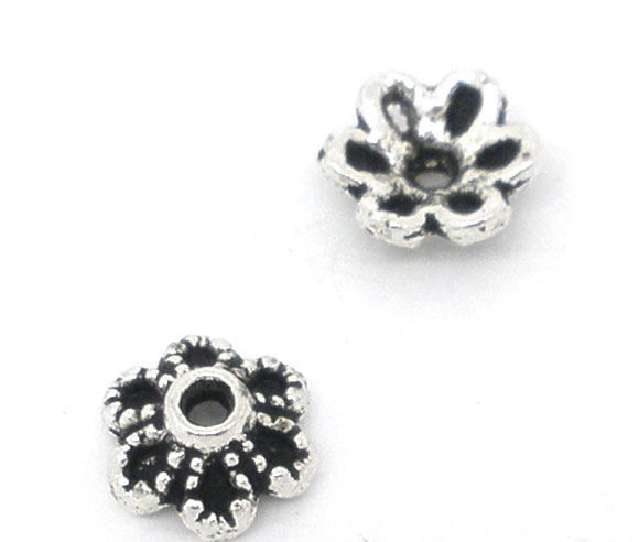 DoreenBeads Zinc Alloy Beads Caps Flower Antique Silver Color(Fits 8mm-12mm Beads)Flower Hollow Pattern 6mm X 2.8mm ,55 PCs