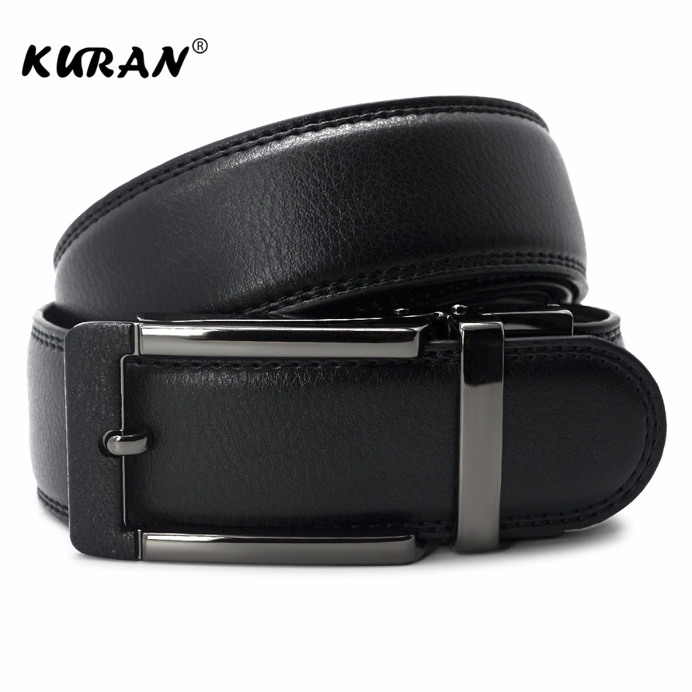 KURAN New Arrival Classical Automatic Buckle Black Belt for Business Men High Quality Genuine Leather 3.55 Width Strap Waistband