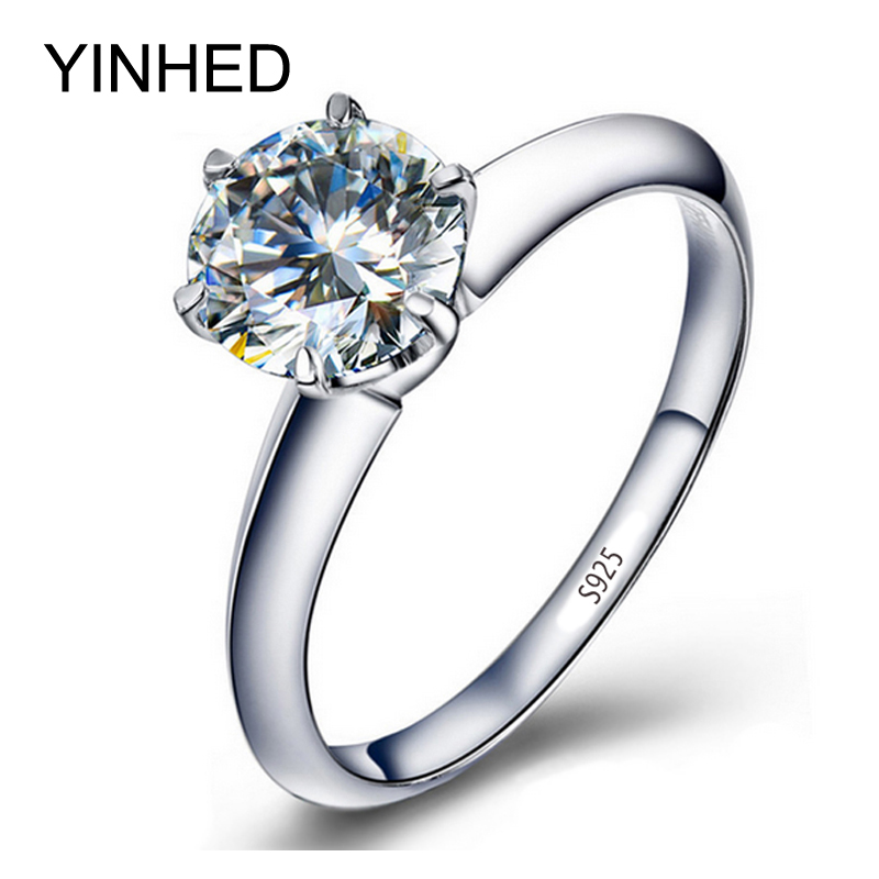 YINHED Wedding Band Ring Women Solitaire Ring Solid 925 Sterling Silver Ring 2ct SONA CZ Cubic Zirconia Engagement Ring ZR291