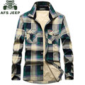 4XL 2017 CLOTHES Autumn Winter Plaid Men Cotton Fleece Dress Shirts Camisa Hombre Patchwork Blouse Vestido Men Clothes Casual